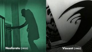 Murnau's Nosferatu on the left, Burton's Vincent on the Right. Photo courtesy of www.openculture.com