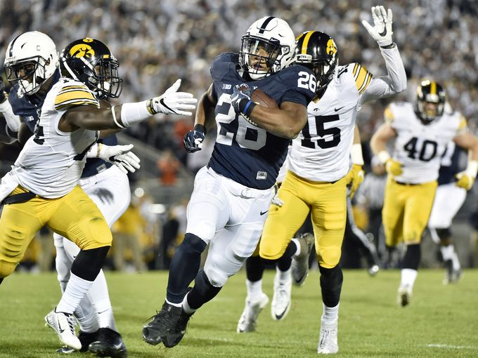 Penn State running back Saquon Barkley rushed for 167 yards on Iowa's defense. ( Photo Credit: Chris Dunn, York Daily Record)