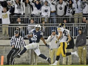 Saquon Barkley dances his way to the endzone. (Photo Credit: Chris Dunn, York Daily Record)