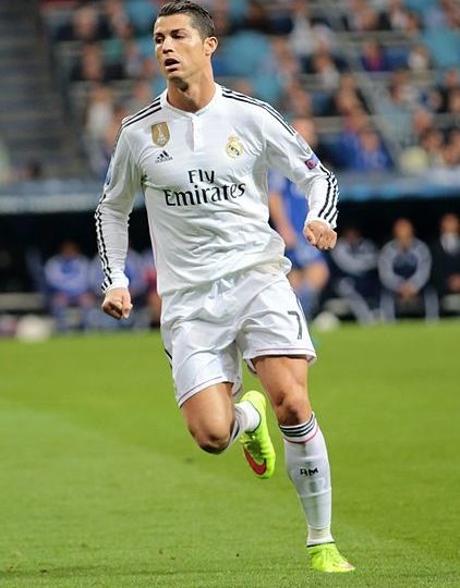 Cristiano Ronaldo in a 2015 UEFA Champions League game vs. FC Schalke. Photo courtesy of Chris Deahr via Wikimedia Commons. Photo licensed under the Creative Commons Attribution 2.0 Generic License.